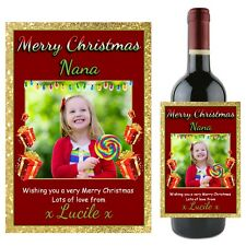 Personalised Christmas Xmas Wine Champagne Bottle Label N78 - Stocking filler