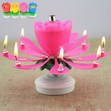 New Romantic Rotating Lotus Flower Party Happy Birthday Musical Candle Lights