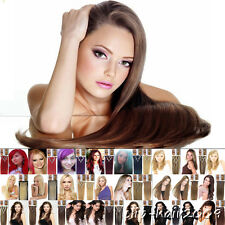"7pcs Clip In Hair Extensions 15""-22"" Remy Natural Human Hair Brown Blonde Black"