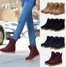 Womens Mens Genuine Leather Mid Calf Boots Snow Boots Warm Winter Lace Up Shoes.