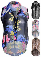 Ladies Chiffon Blouse Leopard Floral Polka Dot Sleeveless Shirt Top Dress 8-14