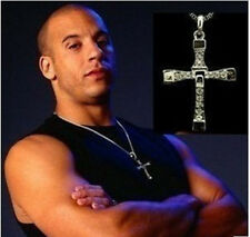 1x 2x Lot Mens Cross Crystal Pendant Fast And Furious Dominic Toretto Necklace
