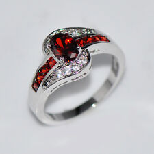 Garnet Red Ruby Gem Engagement Ring Womens Jewelry 10KT White Gold Filled Sz6-10