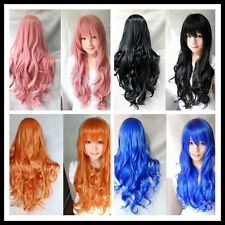 Womens Ladies Long Full Hair Wigs Curly Wavy Cosplay Party With Cap as Gift