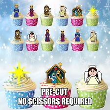Nativity Scene 12 Christmas Cup Cake Toppers Edible Stand Up Decorations