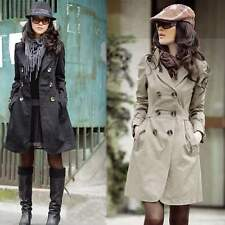 Womens Long Sleeve Slim Fit Long Style Trench Double Breasted Coat Jacket