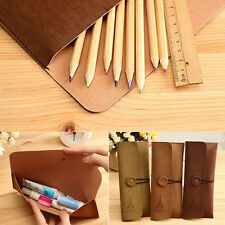 Hot Suede Leather Vintage Cosmetic Makeup Bag Pen Pencil Stationery Case Pouch