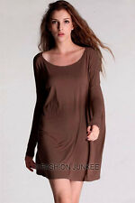 BROWN 51 BAMBOO PIKO TOP Off the Shoulder Loose Shirt Tunic Long Sleeve S M L