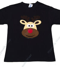 "Girls T-Shirt ""Rudolph the Red Nose Reindeer"" 3D Puffy Kids Size 3-14, Christmas"