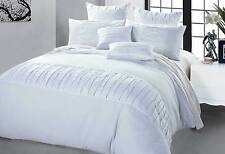QUEEN / KING pleat pintuck Kello WHITE Quilt Cover duvet cover set / Accessories
