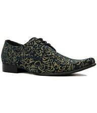 NEW MADCAP MOD RETRO MOD SIXTIES PAISLEY SUEDE SHOES Winklepickers 60s JAG NAVY