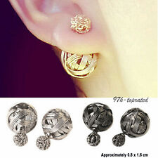 Beauty Pop Double Sides Hollowed Gold Plated Ball Ear Studs Earrings Jewelry TOP