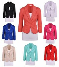 Vogue Women Candy Color Long Sleeve Button Slim Casual Blazer Suit Jacket Coat