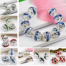 Silver/gold Plated Crystal Rhinestone Flower Ball Loose Spacer Nice Bead 8-10mm