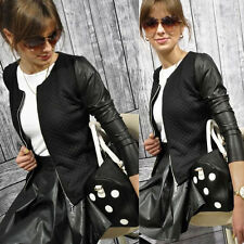 New Women Lady Leather Zip Long Sleeve Blouse Outwear Parka Coat Jacket Stylish