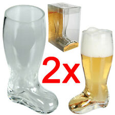 2 X 17CM GLASS BEER BOOT CIDER OF LAGER DRINKING GAMES FUN NOVELTY 300ML