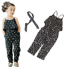 2PC Toddler Baby Girls Fashionable condole jumpsuits + belt Kids Clothes Outfits