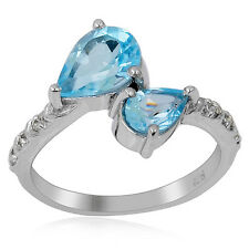 Sterling Silver Pear Blue Topaz and White Topaz Ring