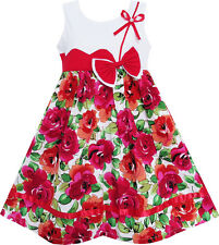 Flower Girl Dress Cute Bow Tie Floral Party Holiday Sundress Kids Size 3-8
