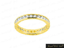 Genuine 1.25Ct Round Brilliant Diamond Carved Eternity Band Ring 18K Gold G SI1
