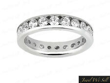 Natural 3.00Ct Round Diamond Classic Channel Set Eternity Ring 10K Gold G-H I1