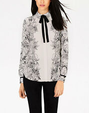 New Womens Ladies Vintage Floral Print Bow Tie Long Sleeve Blouse Tops Shirt