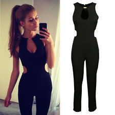 Trendy Women Black Sleeveless Zipper Slim Night Club Party Jumpsuit Romper Pants