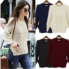 Women Long Sleeve Crew Neck Knitted Pullover Jumper Casual Sweater Knitwear Tops