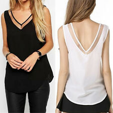 Woman Casual V-Neck Vest Loose Sleeveless Chiffon Sheer Tank T-Shirt Tops Blouse
