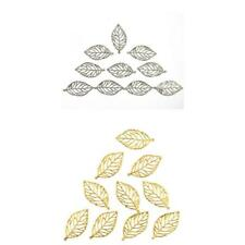 10pcs Silver/Gold Tone Filigree Leaf Charm Theme Pendants Jewelry Making 50x25mm