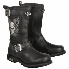 Xelement Women Black Skull Long Leather Biker Riding Motorcycle Boots