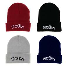 XMAS Winter Knitting MEOW Beanie Hat And Snapback Fashion Mens Womens Hiphop Cap