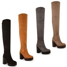 New Ladies Womens Knee High Chunky Platform High Heel Stretch Boots Shoes