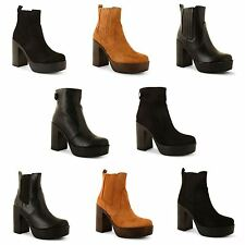 New Womens Block Chunky Heel Ladies Chelsea Platform Ankle Boots Shoes Size