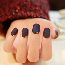 New French Manicure Full Fake Matte Texture Nail Art Artificial Nails Tips 24PCs