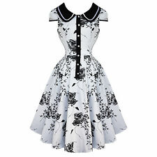 Hearts and Roses London White Floral 1950s Vintage Party Swing Jive Pinup Dress