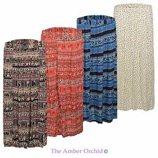 WOMENS LADIES MAXI GYPSY SKIRT LONG PRINTED FLORAL AZTEC GEOMETRIC SKIRT DRESS