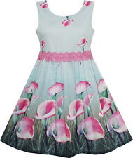 Girls Dress Pink Calla Lily Flower Garden Print Lace Waist Size 4-12