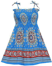 Sunny Fashion Girls Dress Smocked Halter Paisley Blue Size 2-10