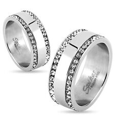 Stainless Steel Double Striped 1.78 Carat CZ Edged Wedding Band Ring 5-13