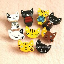 4pcs Cat Funny Wooden Badges Brooches Pins Kid Costumes Toy Gift Party Bag Props