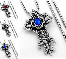 Men's Dragon Red/Blue/Black CZ Cross 316L Stainless Steel Pendant With Necklace