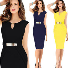 Women Sleeveless Slim Bodycon Work OL Tunic Cocktail Party Evening Pencil Dress