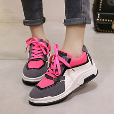 Women's Track Shoes Lace Up Sneakers Flats Sports Walking Air Cushion Trainers