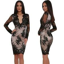Long Sleeve Slim Party Club Black Mini Dress Sexy Floral Lace Dress Bodycon PN83