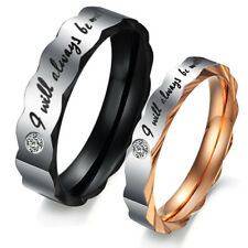 Couple Gear Edge Titanium Steel Crystal Wedding Engagement Bands Ring Women/Men