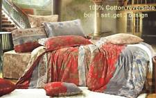 RED 100% COTTON 3pc QUEEN / KING Reversible duvet Quilt Cover Set / Fitted sheet