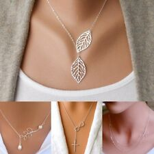 Fashion Women Branch Cross Leaf Infinite Pendant Chain Simple Necklace Jewelry