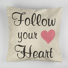 """Sass & Belle retro rustic 16"""" Follow Your Heart cushion cover + inner option"""