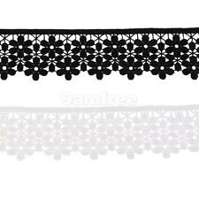3yd Vintage 2 layer Flower Embroidered Trim Lace Ribbon Trimming Sewing Crafts